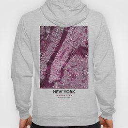 Black Rose Print Showing Manhattan NYC in Peony Floral Styling Hoody