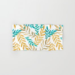 Tropical leaves (yellow and blue). Watercolor Hand & Bath Towel