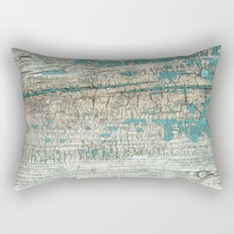 Rustic Wood Turquoise Weathered Paint Wood Grain Rectangular Pillow