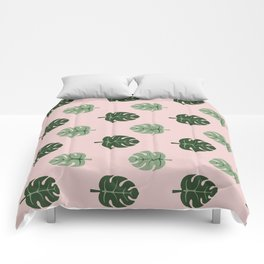 Tropical leaves Monstera deliciosa green and pink #monstera #tropical #leaves #floral #homedecor Comforters