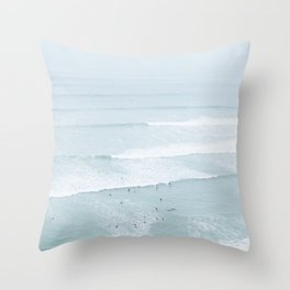 Tiny Surfers from the Sky, Lima, Peru Throw Pillow