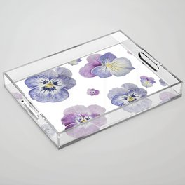 Watercolor Pansy Pattern Acrylic Tray