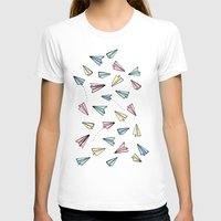 airplanes T-shirts featuring Paper Planes in Pastel by Tangerine-Tane