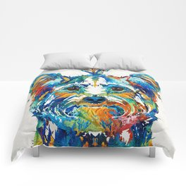 Colorful Yorkie Dog Art - Yorkshire Terrier - By Sharon Cummings Comforters