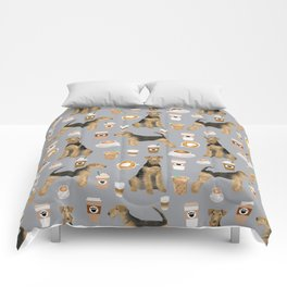 Airedale Terrier coffee pattern dog breed cute custom dog pattern gifts for dog lovers Comforters
