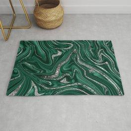 Emerald Green Black Silver Glitter Marble #1 (Faux Glitter) #decor #art #society6  Rug