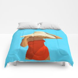 At The Beach: Red Suit Comforters