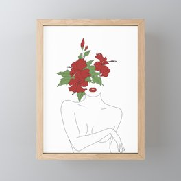 Minimal Line Art Woman with Hibiscus Framed Mini Art Print