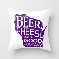 Purple and White Beer, Cheese and Good Company Wisconsin Graphic Throw Pillow