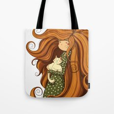 Girl and white cat Tote Bag