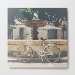 cycling across France on this pretty white bicycle Metal Print