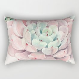 Pink Succulents on Cream Rectangular Pillow