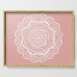 White Flower Mandala on Rose Gold Serving Tray