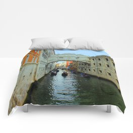 Bridge of Sighs, Venice, Italy,  in the late afternoon sun. Comforters