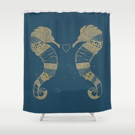 <3 of seahorses Shower Curtain