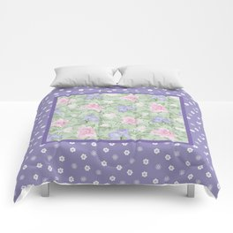 Flower Play Antique over Purple Tiny Flowers Comforters