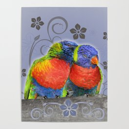 Two lorikeets in love Poster