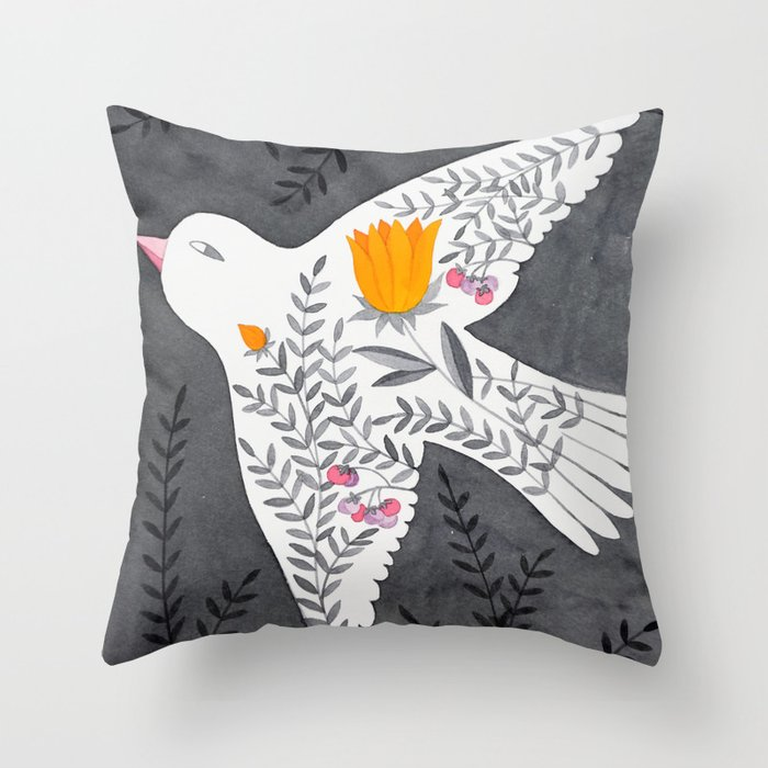 floral bird on grey illustration Throw Pillow