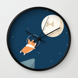 Fly to the moon _ navy blue version Wall Clock