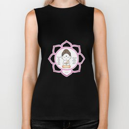 Cute little Buddha in a lotus flower Biker Tank