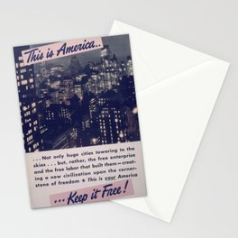 Vintage American World War 2 Poster - This is America: Huge Cities Towering to the Skies (1943) Stationery Cards