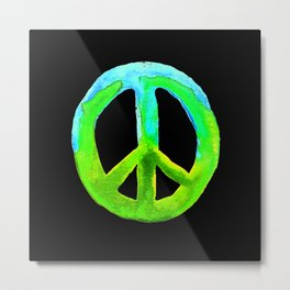 Turquoise Lime Watercolor Tie Dye Peace Sign Metal Print