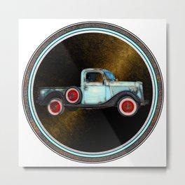 Blue Vintage American Pickup Truck Metal Print