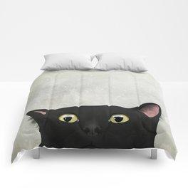 Curious Black Cat Comforters