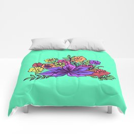 Tropical floral illustration Comforters