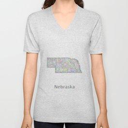 Nebraska map Unisex V-Neck