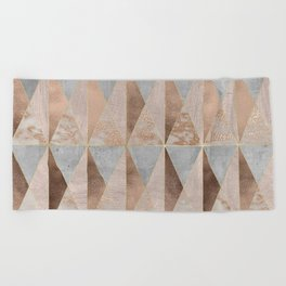 Copper Foil and Blush Rose Gold Marble Triangles Argyle Beach Towel
