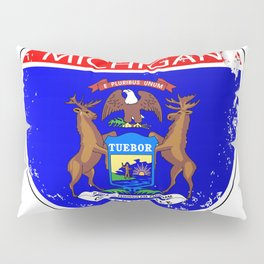 Michigan Flag Icons As Interstate Sign Pillow Sham
