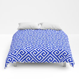 blue white pattern, Greek Key pattern -  Greek fret design Comforters