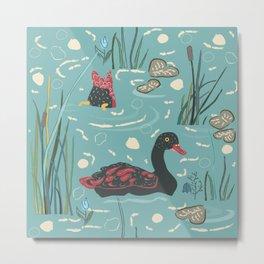 Duck Bird Seamless Pattern Metal Print