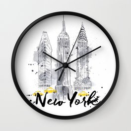 Watercolor New York buildings Wall Clock