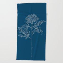 Chrysanthemum Blueprint Beach Towel