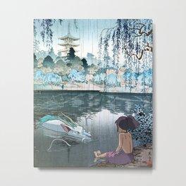 Haku and Chihiro woodblock mashup Metal Print