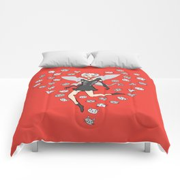 Catgirl Fairy - Black, White and Red Comforters