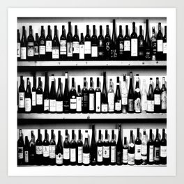 Wine Bottles in Black And White #society6 #decor Art Print