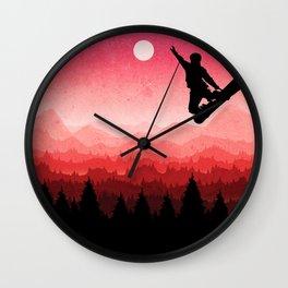 Snowboard Skyline I Wall Clock