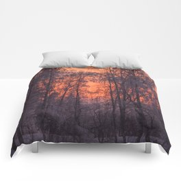 Winter Scene - Frosty Trees Against The Sunset #decor #society6 #homedecor Comforters