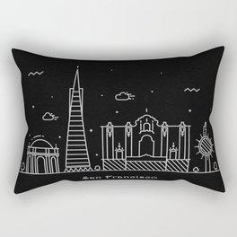 San Francisco Minimal Nightscape / Skyline Drawing Rectangular Pillow