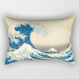 Japanese Woodblock Print The Great Wave of Kanagawa by Katsushika Hokusai Rectangular Pillow