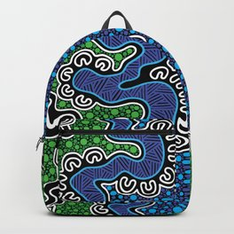 Authentic Aboriginal Art - The River (green) Backpack