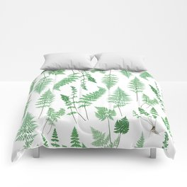 Ferns on White I - Botanical Print Comforters