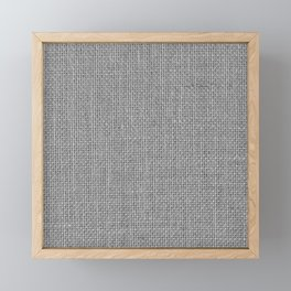 Natural Woven Silver Grey Burlap Sack Cloth Framed Mini Art Print