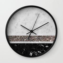 White and Black Marble Silver Glitter Stripe Glam #1 #minimal #decor #art #society6 Wall Clock