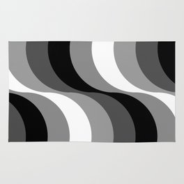 Black and white S Waves Rug