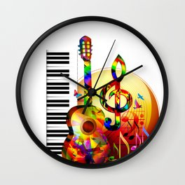 Colorful  music instruments painting, guitar, treble clef, piano, musical notes, flying birds Wall Clock