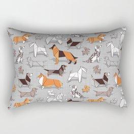Origami doggie friends // grey linen texture background Rectangular Pillow